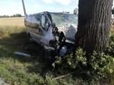 Mężczyzna z niewiadomych przyczyn uderzył busem w drzewo
