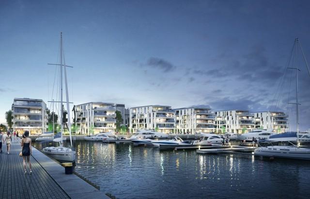 Marina i otaczające ją budynki będą efektowne i nowoczesne. Praca na placu budowy wre