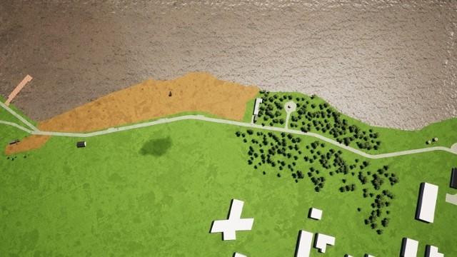 Wizualizacja terenu Zalewu Kraśnickiego po planowanej rozbudowie infrastruktury