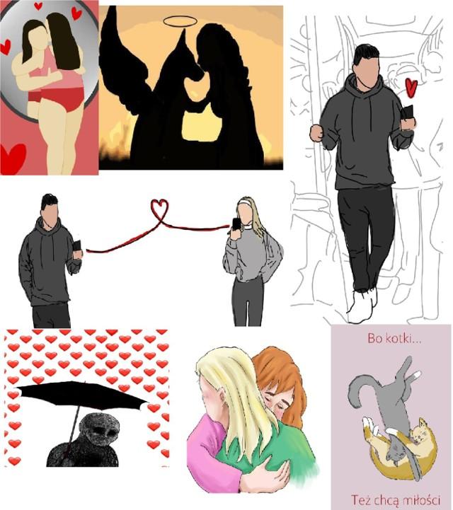 Walentynkowe emocje na grafikach uczennic liceum plastycznego w Zduńskiej Woli