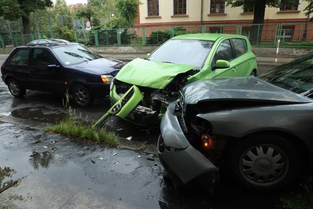 Wypadek na ulicy Jagiellońskiej w Legnicy.