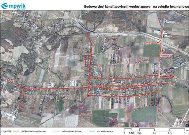 plan budowy kanalizacji na osiedlach Jerzmanów i Jarnołtów.
