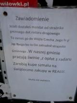 """""""Mafia antyradarowa"""" wywiesiła obraźliwy plakat przeciwko strażnikowi w Kochanowicach"""