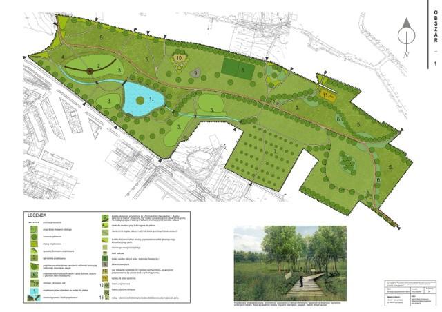 Wizualizacja zagospodarowania terenów zielonych pomiędzy osiedlem Wschód, a osiedlem ogrody w Staszowie.
