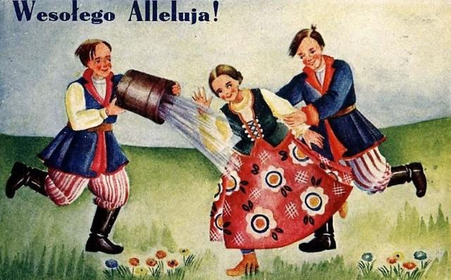 Śmigus-dyngus na dawnej pocztówce.