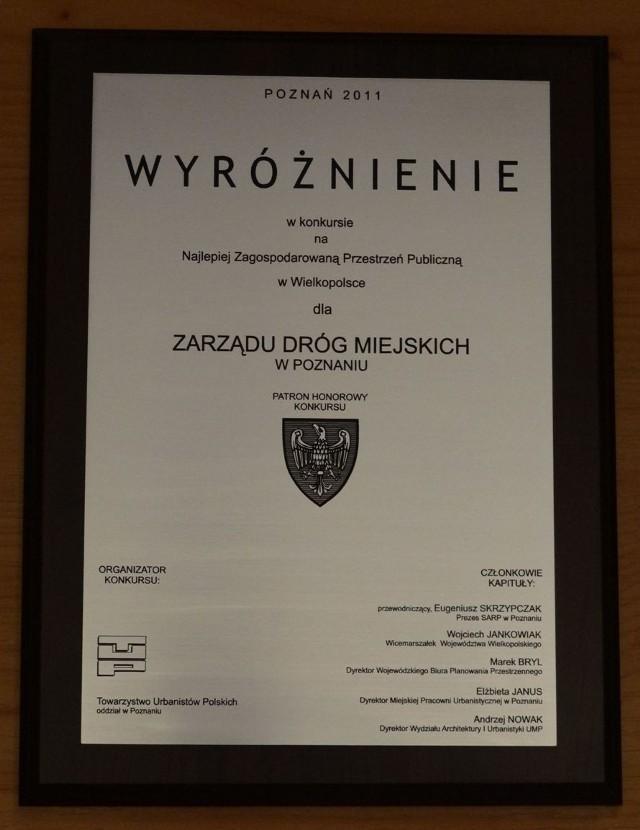 Jeden z dyplomów, jaki otrzymał poznański Zarząd Dróg Miejskich