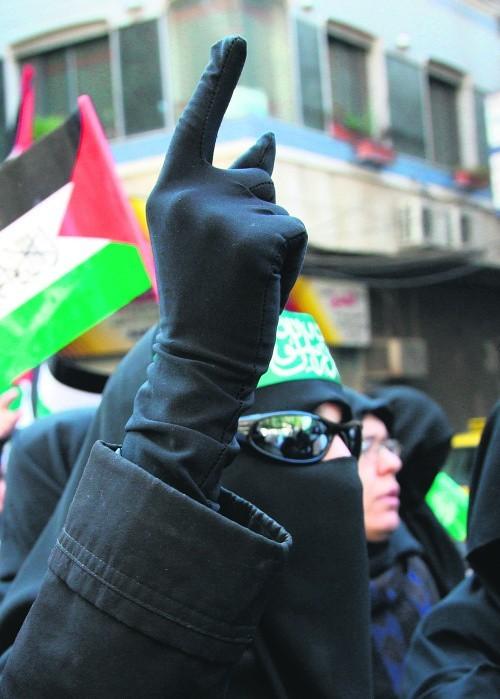 Manifestacja zwolenników Hamasu pod Damaszkiem