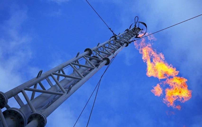 Odwiert Krzesinki - na początku roku trwało tam próbne spalanie gazu. Słup ognia był wysoki na kilka metrów