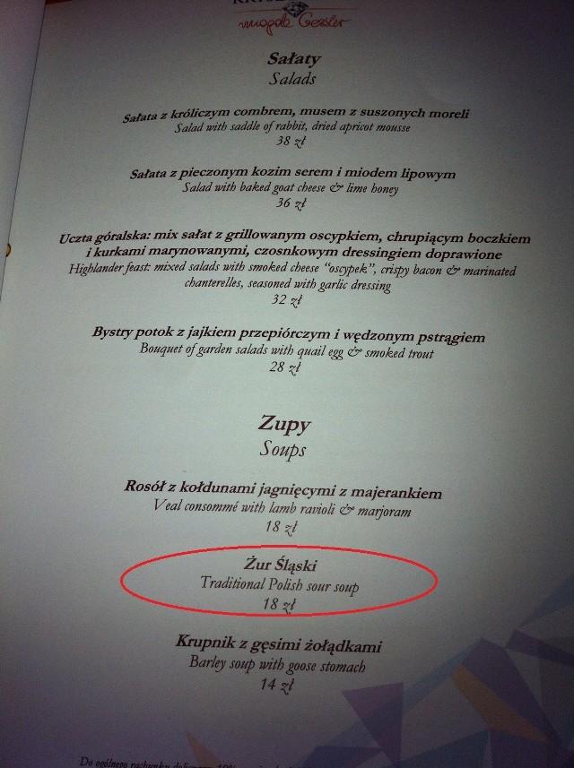 Menu Restauracji Kryształowa w Katowicach