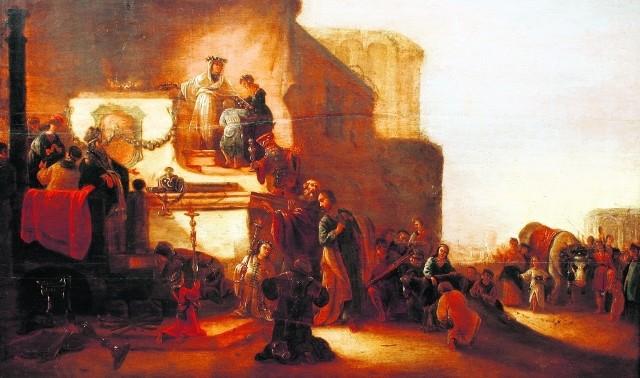 """Tajemniczy obraz Jacoba Willemsza de Weta Starszego """"Ofiara w Lysterze"""", sygnowany przez samego Rembrandta, ma ponad 400 lat"""
