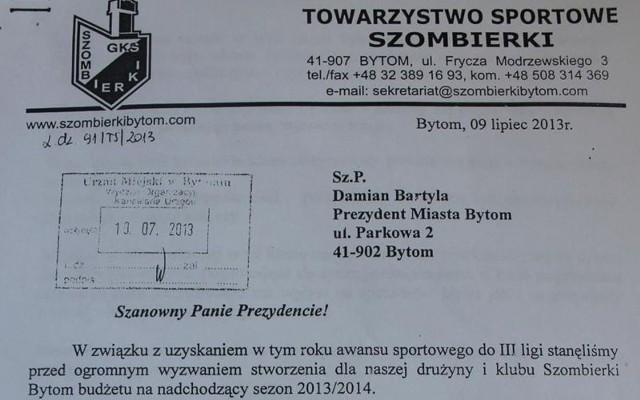 List klubu Szombierki Bytom do prezydenta Bytomia