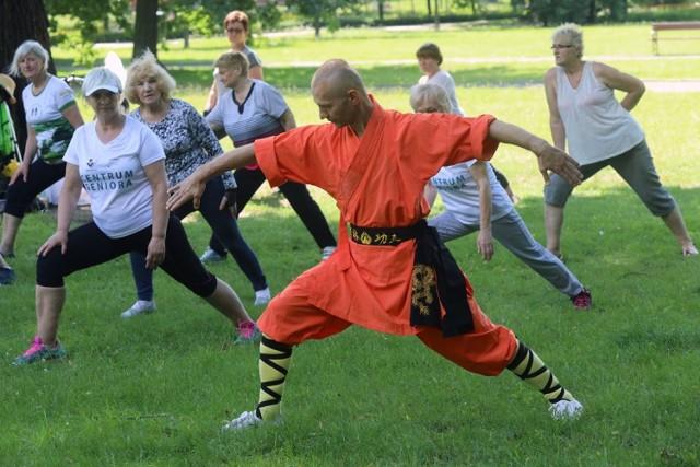 Gimnastyka seniorów w legnickim parku.