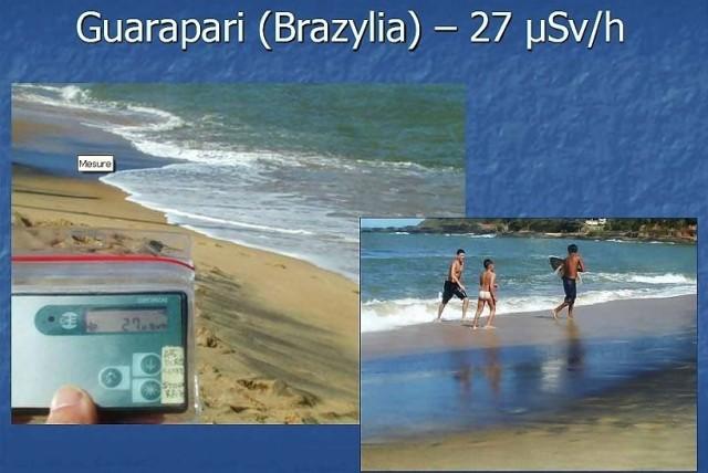 Naturalne promieniowanie tła na plaży w Brazylii