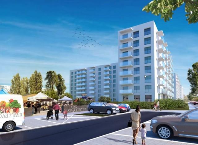 Wizualizacje ze wstępnej i roboczej koncepcji dla dalszej rozbudowy osiedla w ramach programu Mieszkanie Plus na Klinach