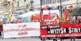 Dwa pierwszomajowe pochody w Łodzi - maszerowali w obronie szkół i niezadowoleni z SLD