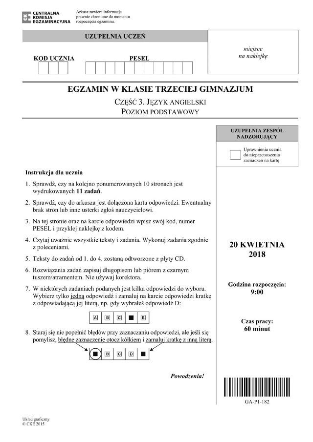 Egzamin Gimnazjalny 2018 Angielski: podstawowy (Arkusz, Odpowiedzi, Wyniki)