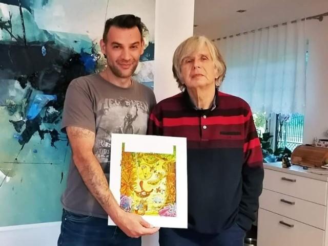 Mirosław Korkus z Tadeuszem Baranowski z okładką albumu