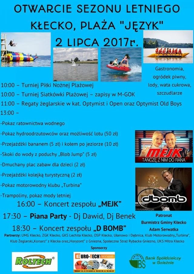 """2 lipca w niedziele już od godziny 10.00 do późnego wieczora,mnóstwo atrakcji będzie na Was czekało w Kłecku, z okazji otwarcia sezonu letniego. Turnieje, konkursy, zbawy gry, zamki dmuchane, a także Pana Party z DJ, oraz koncerty z udziałem """"Mejk"""" i """"D Bomb"""". Szczegóły znajdziecie na plakacie"""