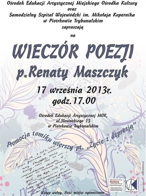 Wieczór Poezji W Piotrkowie Posłuchaj Wierszy Renaty