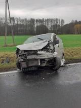 Wypadek na DK 42 koło Przedborza. W Wierzbowcu po zderzeniu dwa busy wjechały do rowu