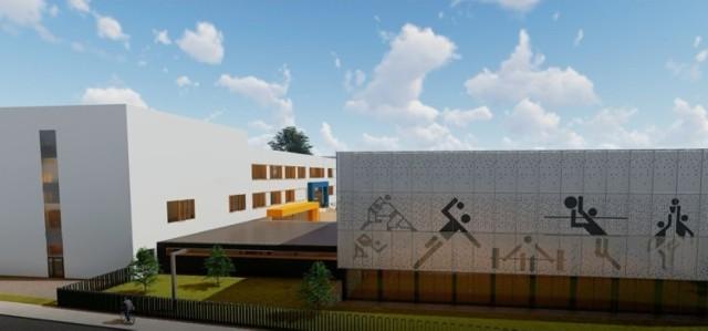 Wizualizacja nowego obiektu na Drabiniance. Obok dla rodziców młodszych dzieci i nauczycieli zaprojektowano parking na 60 miejsc postojowych.