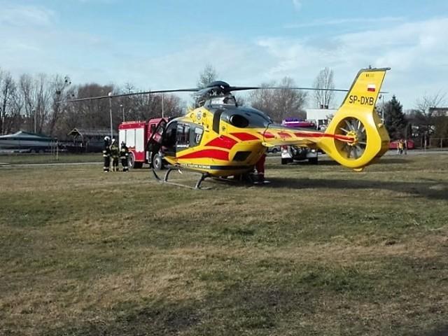 Lądowanie helikopter LPR w Brzegu
