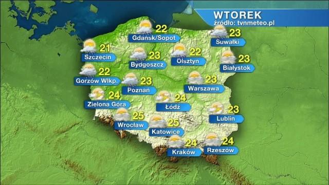 Pogoda na wtorek, 15 czerwca