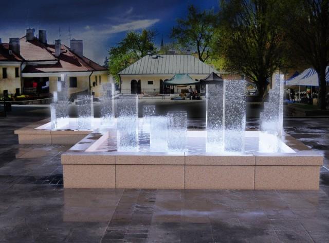 Modernizacja fontanny na Małym Rynku w Sandomierzu, zwycięski projekt - Natalia Szymańska z Wyższej Szkoły Ekologii i Zarządzania w Warszawie.