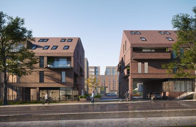 """W projekcie gdańskich archotektów we wnętrzu kwartału  główna oś prowadzić miałaby przez plac miejski i aleję ku wieży widokowej, z której rozpościera się widok na panoramę Gdańska. Ta część zabudowy planowanego osiedla ukształtowana została tak, by bryły budynków nie przytłaczały swoją wielkością zabudowy """"frontowej"""". Cegła jako element przewodni spaja całe założenie."""