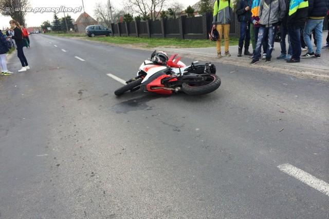 Wypadek motocyklisty w Mogilnie