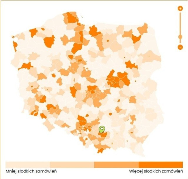 Małopolska. Serwis pyszne.pl na podstawie analizy zamówień stworzył mapę dla całej Polski oraz zestawienie 3 produktów dla każdego powiatu.