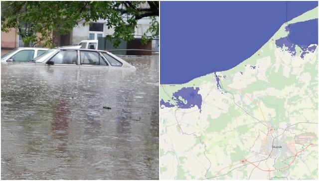 Sprawdzamy, jak będzie wyglądał region słupski po podniesieniu poziomu wody w Morzu Bałtyckim. Oczywiście na zalanie najbardziej narażona jest Ustka. O ile musiałby podnieść się stan morza aby woda zalała również Słupsk? Sprawdź na kolejnych slajdach