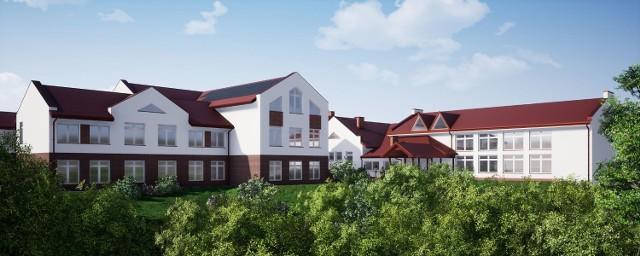 Wizualizacje nowej szkoły w Łąkcie Górnej, przetarg na jej budowę powinien być ogłoszony przed wakacjami 2021
