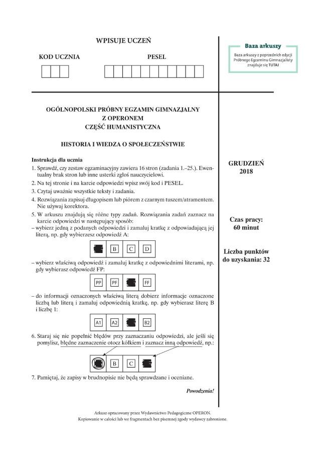 Próbny Egzamin Gimnazjalny Operon 2018: historia, wos.