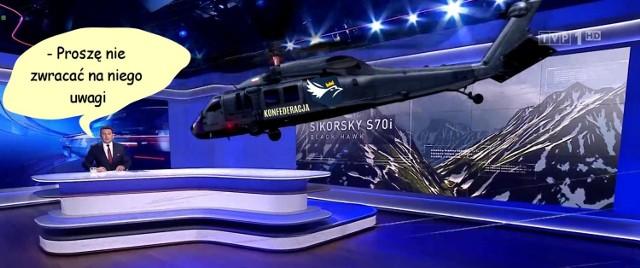 Helikopter w Wiadomościach TVP MEMY. Nowa odsłona i nowe studio Wiadomości TVP