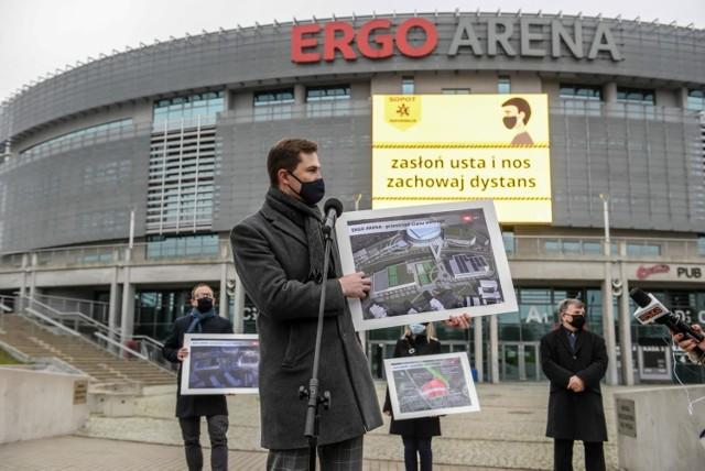 Władze Gdańska i Sopotu przedstawiły założenia planów zagospodarowania terenów przy Ergo Arenie. Nz. wiceprezydent Gdańska Piotr Grzelak
