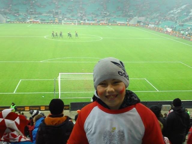 11 - letni Igor Prusiński z Zawidowa. Mecz Polska Słowacja na długo pozostanie w jego pamięci
