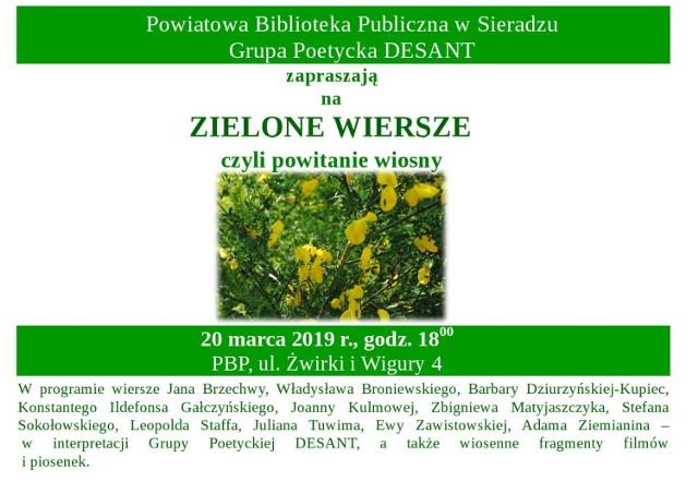 Zielone Wiersze Na Powitanie Wiosny W Sieradzu Na Literacki
