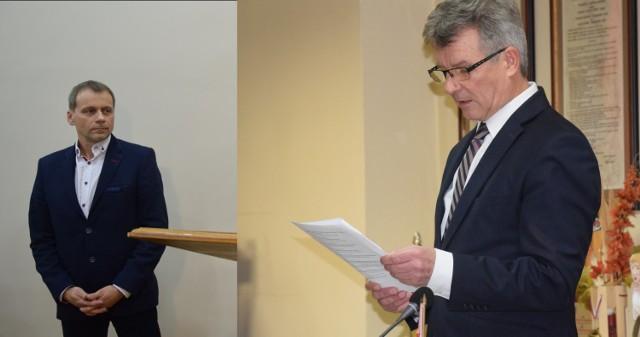 """Starosta Zdzisław Gamański (z prawej) mówi, że z niesmakiem słuchał tego, jak o nim i jego urzędnikach wypowiadał się początkujący skarbnik miasta Włodzimierz Zalewski. Burmistrz Chełmna Artur Mikiewicz (z prawej) twierdzi, że było """"nieprecyzyjnie i ogólnikowo"""""""