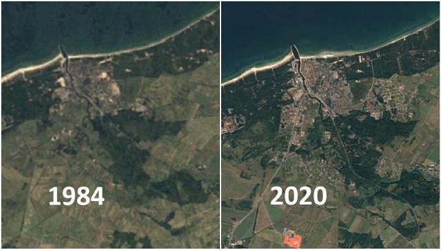 Ustka na zdjęciach satelitarnych od 1984 do 2020 roku.