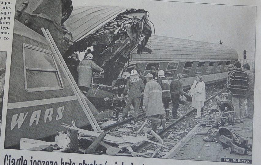 Katastrofa kolejowa w Reptowie. 24 lata temu zginęło 12 osób ARCHIWALNE SKANY I ZDJĘCIA