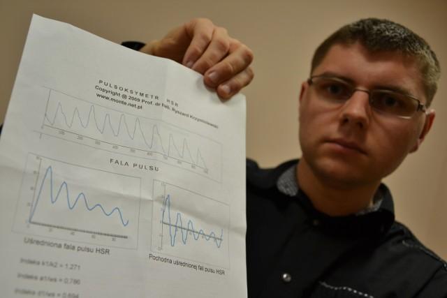 Badanie trwało minutę i polegało na włożeniu palca wskazującego do tzw. pulsoksymetru
