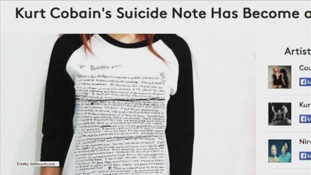 W internecie pojawiły się koszulki z treścią samobójczego listu Kurta Cobaina