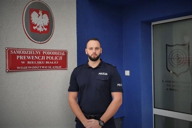 Starszy sierżant Robert Pawłowski z Samodzielnego Pododdziału Prewencji Policji w Bielsku-Białej