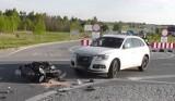 Groźny wypadek motocyklisty w Celinach. Dwie osoby ranne