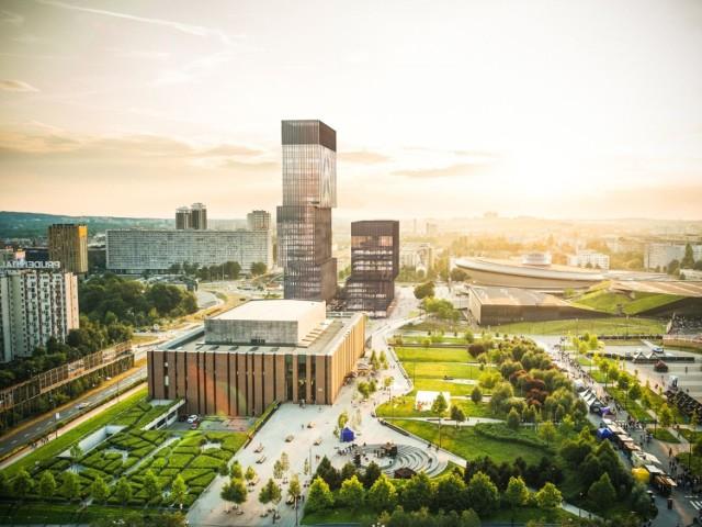 Budowa kompleksu .KTW w Katowicach. Biurowiec .KTW II ma być gotowy na przełomie pierwszego i drugiego kwartału 2022 roku