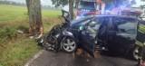 Wypadek w Piesienicy. Auto uderzyło w drzewo, trzy osoby poszkodowane