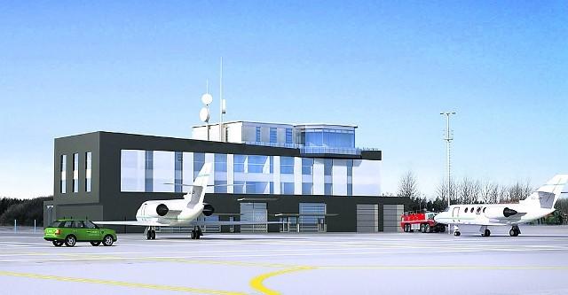 Wizualizacja budynku służb lotniskowych Portu Lotniczego Gdynia-Kosakowo.