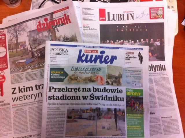 Przegląd prasy z 21 października: Kurier Lubelski, Dziennik Wschodni, Gazeta Wyborcza w Lublinie