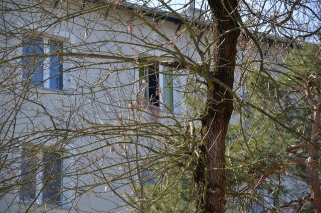 Szesnastolatek siedzący na parapecie z nogami na zewnątrz mieszkania